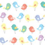 Vector seamless background with cute cartoon birds Stock Image
