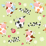 Vector seamless background with cute cows Royalty Free Stock Photo