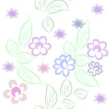 Vector seamless background from decorative flowers made by hand in pastel colors on a white background stock illustration
