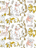 Vector seamless background with dogs of different breeds. Funny hand drawn fabric design. Royalty Free Stock Photo