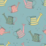 Vector seamless background with watering can. Vector seamless background with draw  watering cans Stock Photography