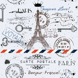 Vector seamless background with flower Eiffel tower. And post stamps imitation of vintage postcard in grunge style Stock Image