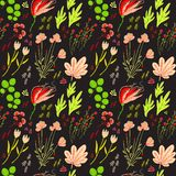 Vector Seamless background with of flowers Royalty Free Stock Image