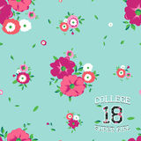 Vector seamless background with flowers and print college super girl for typography Stock Images
