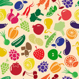 Vector seamless background with fruits and vegetables Stock Photography