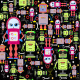 Vector Seamless Background Funny Colorful Robots on Black. Stock Image