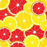 Vector seamless background with grapefruit and lemon slices. Royalty Free Stock Photo