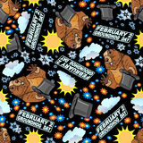 Vector seamless background Groundhog Day vector illustration