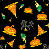 Vector seamless background Halloween kit pumpkins, candles, graves and cross Stock Photography