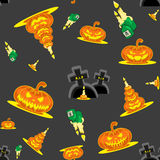 Vector seamless background Halloween kit pumpkins, candles, graves and cross Royalty Free Stock Photography