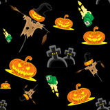 Vector seamless background Halloween kit scarecrow, pumpkins, candles, graves and cross Stock Photos