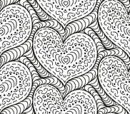 Vector seamless background hand drawn hearts. Vector abstract seamless background of black hand drawn hearts Stock Photo
