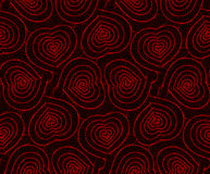 Vector seamless background hand drawn hearts. Vector abstract seamless background of hand drawn hearts. Black red pattern Royalty Free Stock Photo