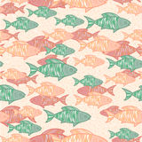 Vector seamless background with hand drawn orange and green fish stock illustration