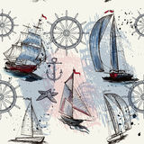 Vector seamless background with hand drawn ships Stock Photos