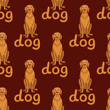 Vector seamless background. Happy dog with lettering. Stock Photography