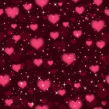 Vector seamless background with hearts and sparkles. Vector. Dark rose color seamless background with love hearts and sparkles. Vector Illustration Royalty Free Stock Photography