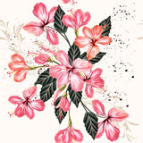 Vector seamless background with hibiscus flowers in retro style Stock Image