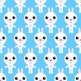 Seamless pattern of cartoon bunny on blue background. stock illustration