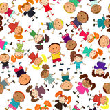 Vector seamless background with kids vector illustration