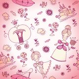 Vector seamless background for kids. Pink seamless. Background can be used for wallpaper, web page background, textile. Girly background or girly seamless or Royalty Free Stock Image