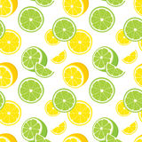 Vector seamless background of lemon and lime slices. Stock Photography