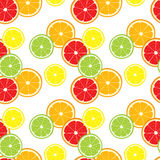 Vector seamless background of lemon, orange, lime, grapefruit slices. Royalty Free Stock Images