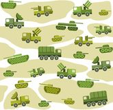 Vector seamless background with military equipment spotted on a white field. Colored, flat picture. Stock Images