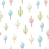 Vector seamless background with multicolored cactus. On background white. Ready for printing on textile and other seamless design vector illustration