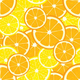 Vector seamless background with orange and lemon slices. Background Stock Images