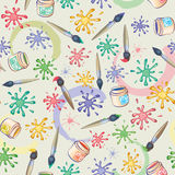 Vector seamless background of paintbrush and blots Stock Photo