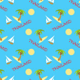 Vector seamless background with palmtrees yachts and thailand inscription Royalty Free Stock Photo