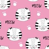 Cats and paws pattern. Vector seamless background pattern with cats and paws Stock Images