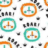 Roar with cute baby lions. Vector seamless background pattern with cute baby lions stock illustration