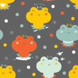 Princess frog pattern. Vector seamless background pattern with frogs and dots Royalty Free Stock Images