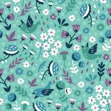 Sparrows and flowers in garden. Vector seamless background pattern with hand drawn birds and blooms Stock Image