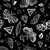 Hand drawn butterflies. Vector seamless background pattern with hand drawn butterflies Stock Photos