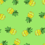 Vector Seamless Background Pattern with Pineapples. Hand drawn. Vector seamless pattern with pineapples. Hand drawn illustration vector illustration