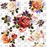 Vector seamless background or pattern with rose flowers in retro Royalty Free Stock Images