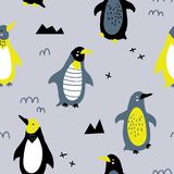Funny penguin pattern. Vector seamless background pattern with scandinavian penguin for baby shower, textile design Stock Images