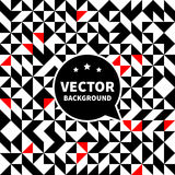 Vector seamless background pattern, white black red triangle. Layered Stock Images