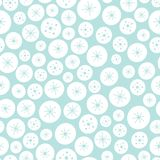 Vector seamless background pattern of white and blue Christmas circles and stars. A surface pattern design background vector illustration