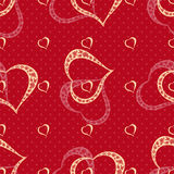 Vector seamless background with polka dots and hearts. Royalty Free Stock Image