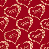Vector seamless background with polka dots and hearts. Stock Photography