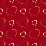 Vector seamless background with polka dots and hearts. Royalty Free Stock Photos