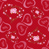 Vector seamless background with polka dots and hearts. Stock Photos