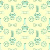 Vector seamless background with rabbit, flowers, bows and heart. Easter eggs background for printing on fabric, paper for scrapboo. King, gift wrap and Stock Photos