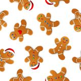 Vector seamless background with realistic christmas gingerbread mans, decorated with icing, on white royalty free illustration