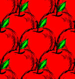 Vector seamless background with red hand drawn apples stock illustration