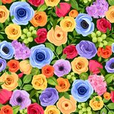 Seamless background with colorful flowers. Vector illustration. vector illustration